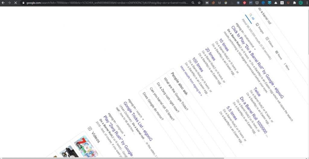 do a barrel roll google tricks